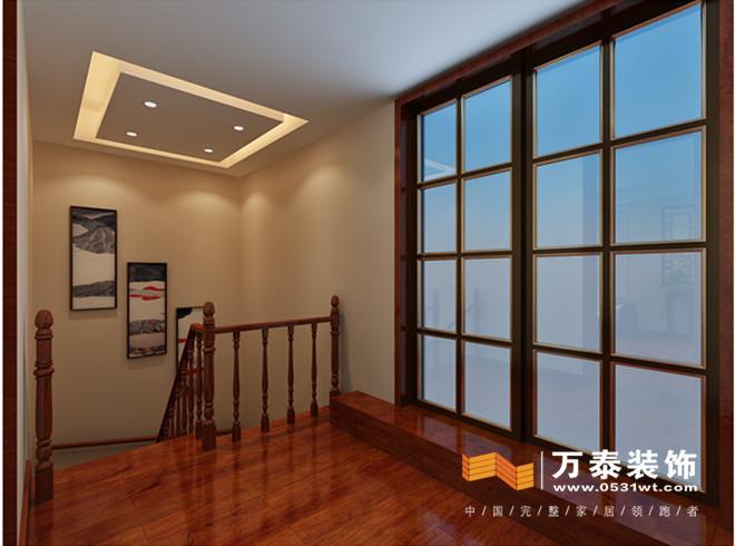改变原有二楼卫生间和主卧室门洞的位置,简单有效的解决了楼梯口正对