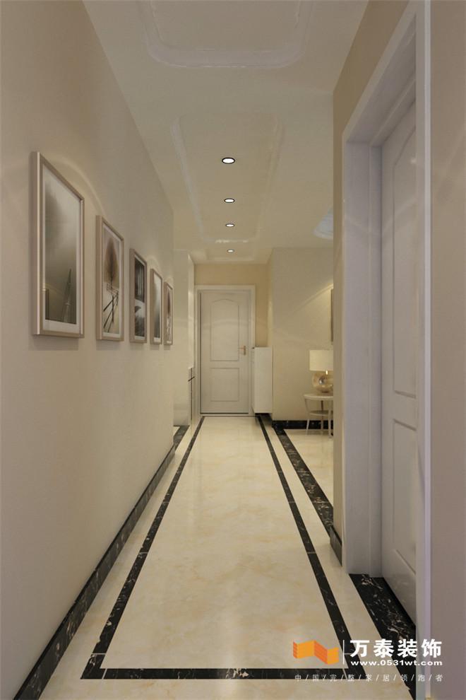 走廊的天花造型和地面的拼花完美的结合,更能显现出整个设计风格中。点线面的运用恰到好处地面采用的防玉石纹理的瓷砖,更具有让人舒心愉悦的心情。 汉裕新苑-卧室的装修效果图:  主卧采用罗马文的壁纸点缀,增添了主人翁在卧室中的神秘感.加以欧式床品的陈设,可以烘托出男女主人的唯美爱意。