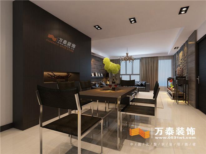 木地板上墙的方式加上黑胡桃木色家具的搭配使整个