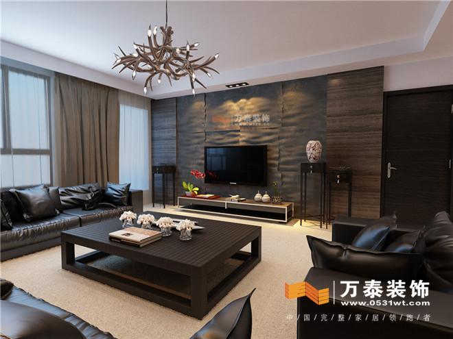 影视墙采用文化石突出强烈机理感沙发背景墙采用木地板上墙的方式加上图片