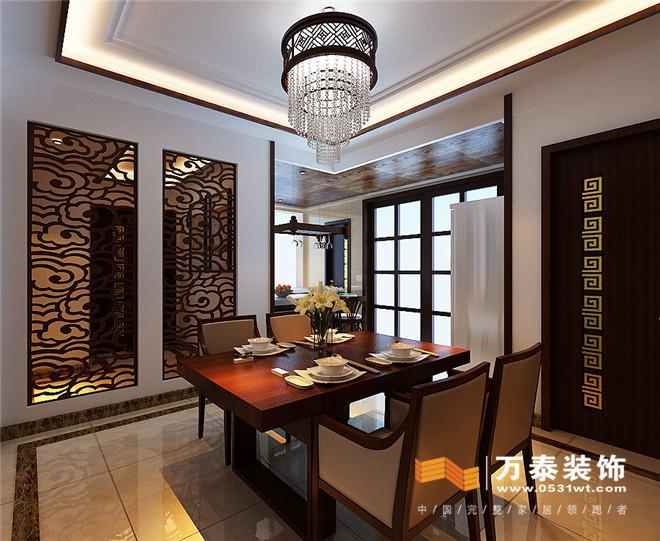 济南绿景尚品新中式风格装修效果图 济南绿景尚品217平新中式风格装