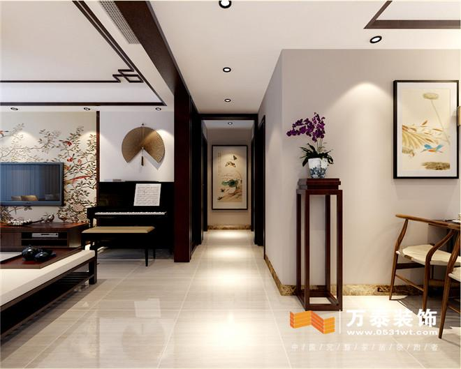 济南黄金御园140平新中式风格装修效果图|济南黄金