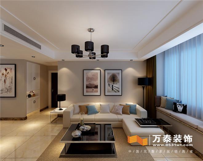 影视墙的设计采用了几何形边框表现出了该风格简约