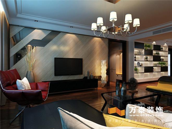 客厅影视墙: 作为一家里的重中之重,在影视墙上采用饰面板做清油加