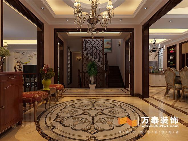 济南中海铂宫双拼别墅简美风格装修效果图|济南中海平