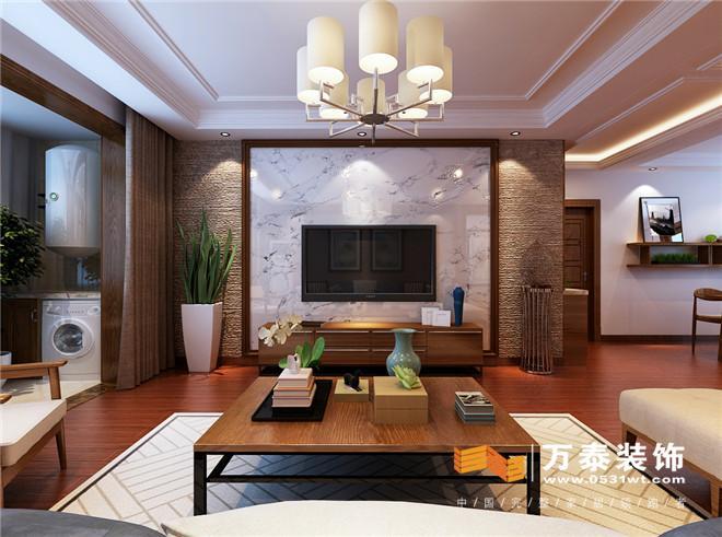 影视墙:  影视墙采用木质造型和瓷砖相结合,造型上运用对称的感觉,沉稳中又不失大气。同时不同的材质相互碰撞,简单时尚。 阳台:  为了更加方便生活,在阳台上增加了储物空间,同时又满足正常的洗衣晾晒。 走廊:  一进门的走廊与客餐厅分隔开,通过顶面简洁吊顶在视觉上又起到延伸的效果。