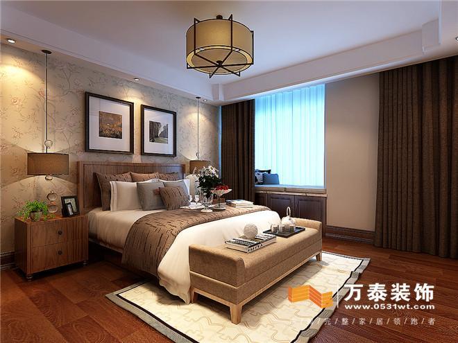 客厅主要为本案的留白区域,使整体空间疏密有度,满足业主家庭聚首的最大开敞空间。 走廊:  儿童房:   主卧:  主卧室卫生间冲床体,衣帽间储纳狭小,将整体卧室门的位置处理,作为整体套间设计,满足卫生间,衣帽间及卧室的私密性与实用性。 平面布置图:  蓝石大溪地的案例欣赏完了,是不是你喜欢的设计风格呢?