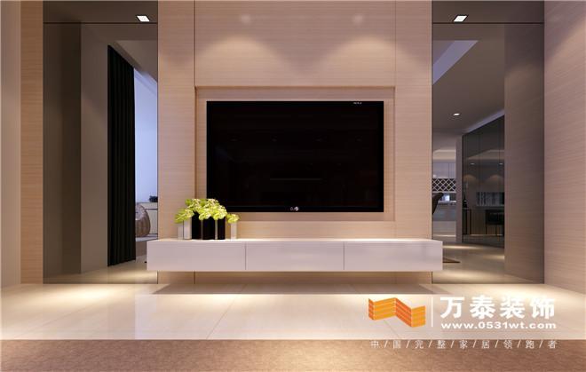 电视墙浅色木纹造型墙和两侧镜面造型形成一个虚实对比,线条简练