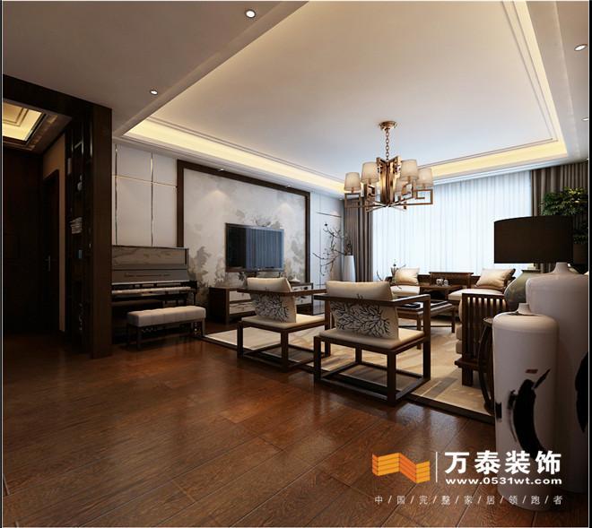 设计说明:本案位于舜兴东方,新中式风格,在本案的整个设计中,水墨画风格的影视墙、简单的沙发背景墙、深色木制墙板,包括吊灯,装饰品等等,都富于创造中国文化的意境,配以现代风格黑檀木制家具等新的设计元素又给中式设计风格增加了新的诠释,迎合了当代人的审美需求。虽然没有那种明显的中式痕迹存在,但依旧能明显的感受到一股中国风迎面扑来。使整个空间多而不乱,温馨舒适,也赢得了客户的赞许。