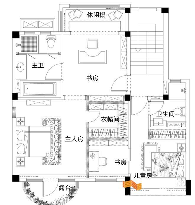三楼空间规划出客房及休闲娱乐室,满足居住娱乐功能.