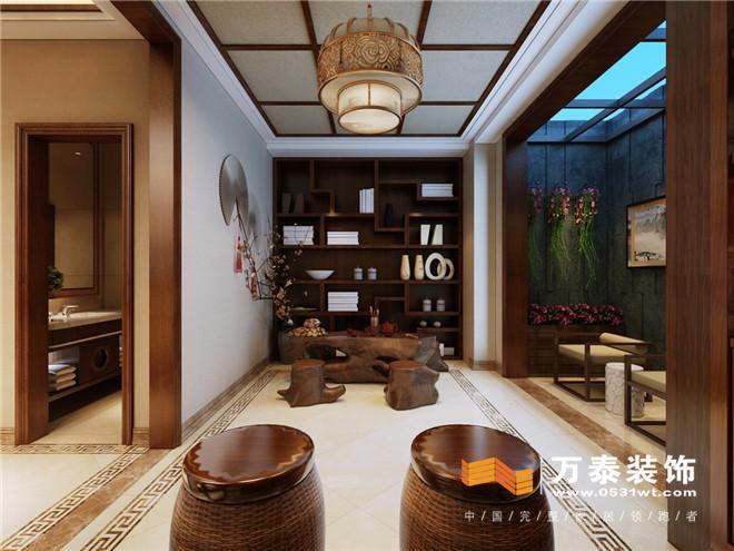 济南中海铂宫中式风格280平联排别墅装修设计案例|济南中海铂宫联排