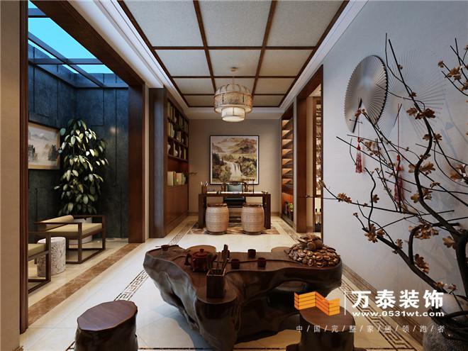 一层利用各种中式隔断及垭口划分客厅,餐厅,厨房扩大更加实用舒适.