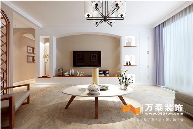 影视墙采用的是白色家具为主