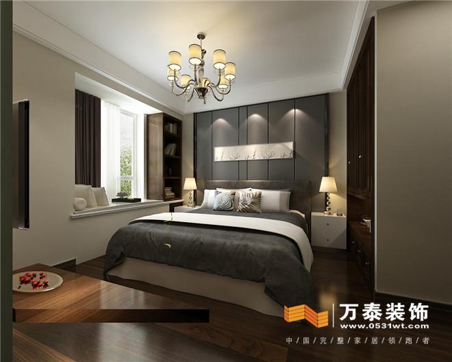床头背景墙采用硬包造型