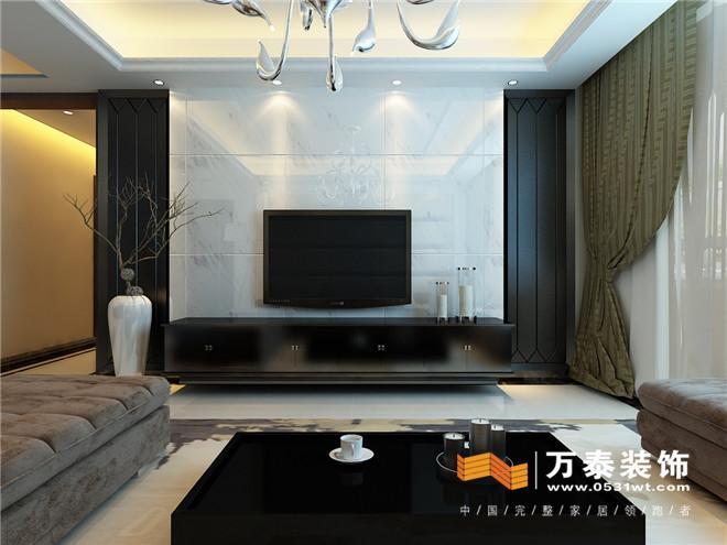 空间说明   客厅: 影视墙采用了石材与镜面相结合的方式,炭黑