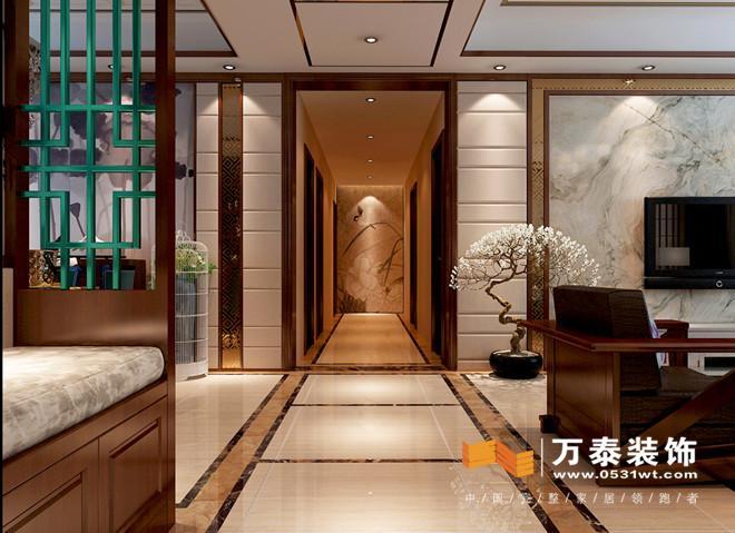 吊顶造型和地面的拼花呼应  使入户的空间大方有层次感图片