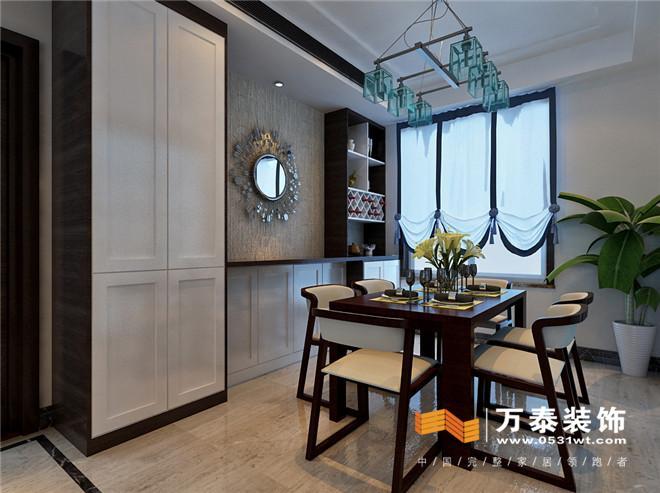设计说明:此案是典型的新中式风格,用石材做影视墙,采用黑胡桃木纹跟白混油搭配,使整个氛围更加时尚,业主为时尚族,更多的追求时尚唯美,因此在选择石材时也选择的玉石 客厅:  客厅:  沙发墙采用蓝色水墨画,既现代又不缺中式韵味。 客厅:  采用蓝的水彩画,与沙发背后画相呼应。 餐厅:  餐厅背景墙处全部为柜子,一边为衣帽柜,另一边为酒柜,中间将地暖的线路隐于其中。 书房:  主卧:  通过壁纸来突出主题墙 平面设计图:此户型南北通透,动静分离,空间划分明确