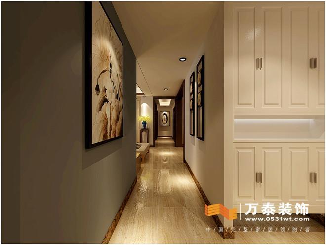 走廊:   走廊:   玄关鞋柜的镂空设计是比较新颖的,底下镂空可以放
