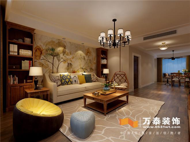 """客厅:  简单的影视墙设计符合""""轻装修,重装饰""""的设计理念。客厅的开间比价宽,为了满足客户喜欢在休息的时候读书的这一爱好,在沙发背景墙上增加了书架设计,使客户更加便利。 客厅:  客厅;  客厅:  餐厅;  与整个客厅互通,利用材质与家具、厨房融为一体。整个空间颜色为暖黄色调使整个空间比较温馨。 餐厅:  门厅:  原始空间是没有玄关的,但因为影视墙太过于长所以增加了玄关设计,是因为进门见景的设计思路,同时增加了储物的空间解决了入户没有鞋帽柜的问题,在增加了美观的同时更加实用。"""