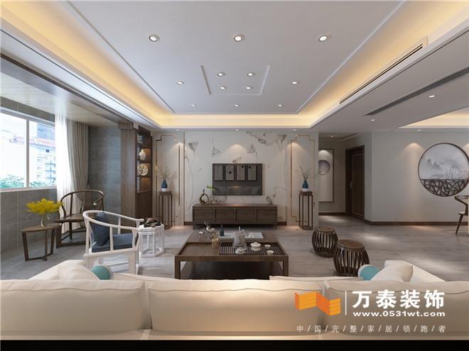 影视墙采用质朴内敛的壁纸与旁侧的不锈钢条能形成多层次的空间感