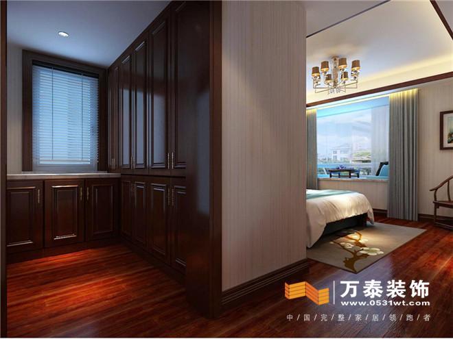 卧室:   卧室: 床头背景墙运用了壁纸和木质墙板结合,品质感增强图片
