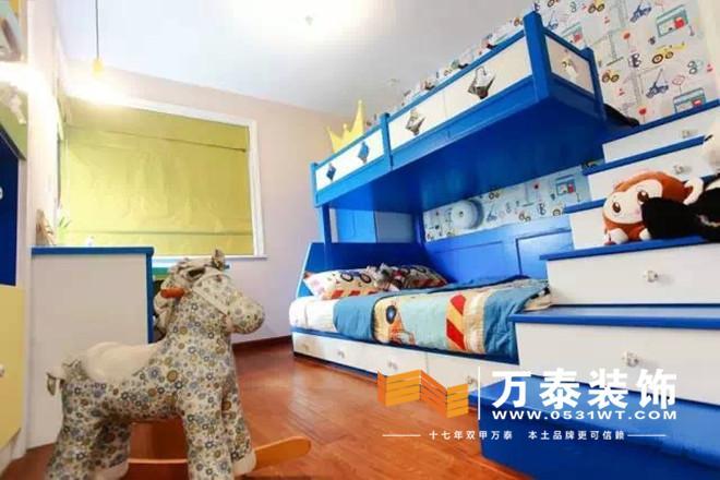 儿童房,蓝色双层床